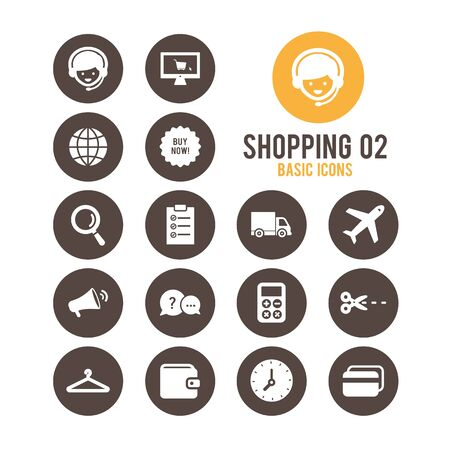 Shopping and E-commerce icons. Vector illustration.