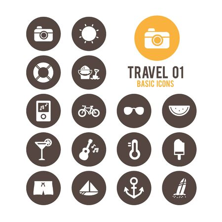 Travel and tourism icons. Vector illustration.