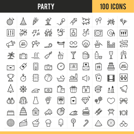 Party icons Vector illustration.