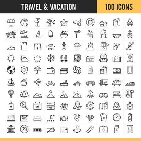 Travel and vacation icons. Vector illustration. Illustration