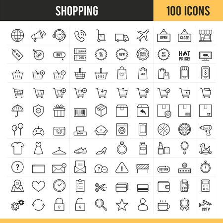Shopping and E-Commerce icons Vector illustration.