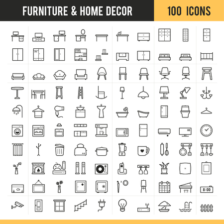 Furniture icons. Vector illustration. Stock Vector - 85768667