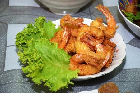 flavoursome: fried Shrimp Stock Photo