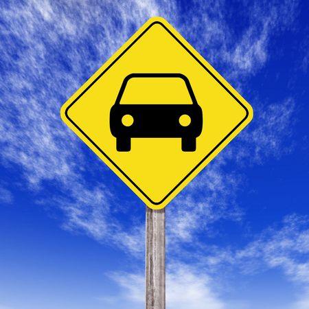 coche: Traffic signal on sky blue