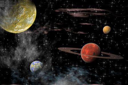 galactic: View of the universe with planets