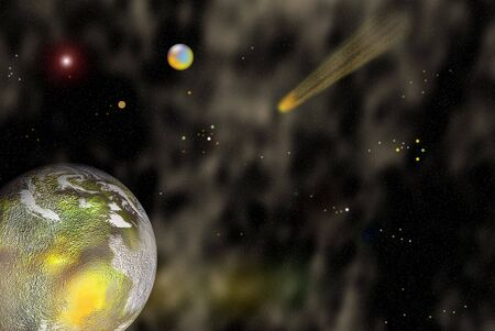 interplanetary: View of the universe with planets