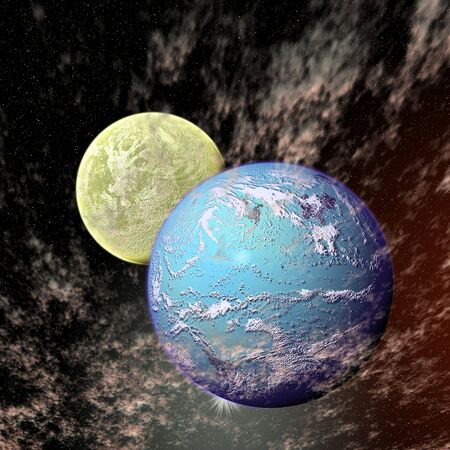 View of the universe with planets photo