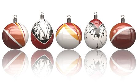 3d mode: Christmas balls on a white background