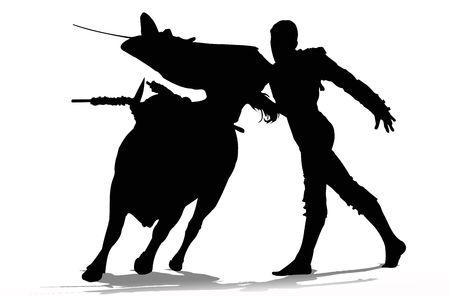 matador: Stieren vechter in actie  Stockfoto