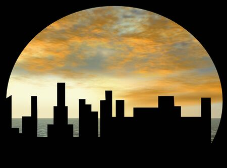 Cityscape at sunset photo
