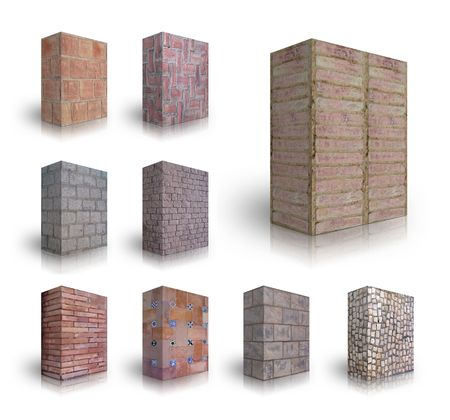 Collection of Wall bricks on a white background photo