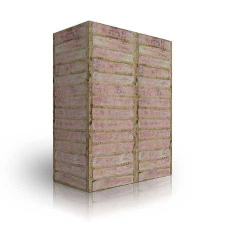 urbanization: Wall bricks on a white background Stock Photo
