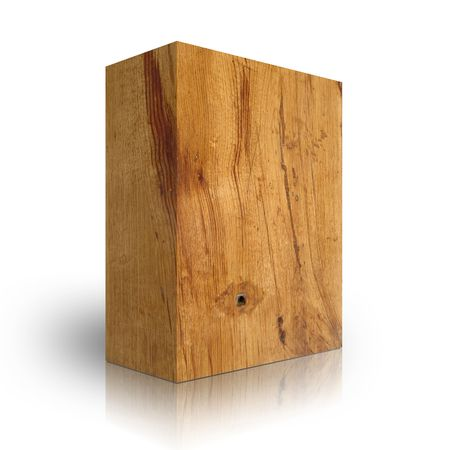 wooden beams: wooden box on a white background