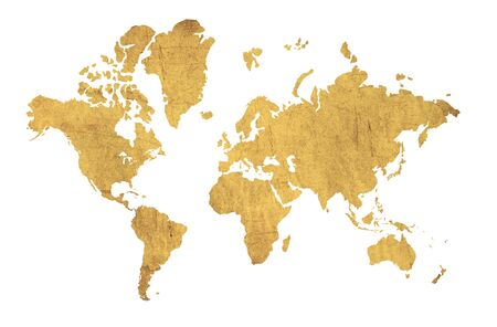 Map of the world in the texture of parchment photo