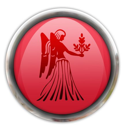 zodiacal sign: Button with the zodiacal sign  Virgo