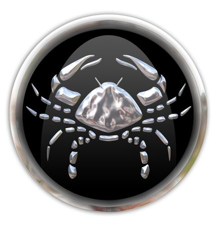 zodiacal sign: Button with the zodiacal sign Cancer