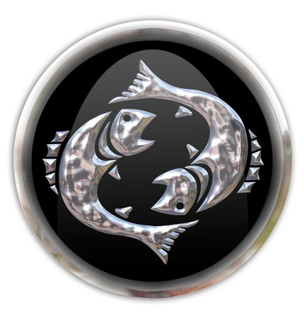 zodiacal sign: Button with the zodiacal sign Pisces