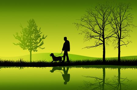Man walking his dog Stock Photo