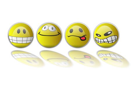 conceptual image: Group smiles with different expressions Stock Photo