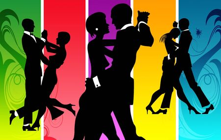 classical dance: Couples dancing in a lounge