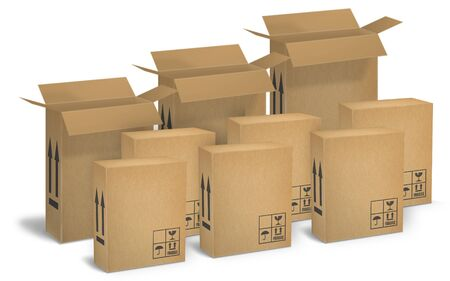 Corrugated cardboard boxes for the shipment of products photo