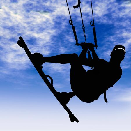 kitesurf: Man doing