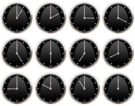Colecci�n de relojes marcando todas las horas Foto de archivo - 4158940