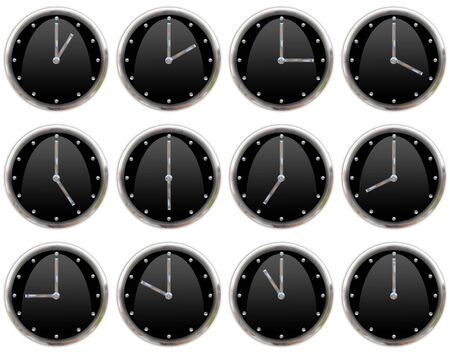 ticking: Collection of clocks ticking all hours Stock Photo