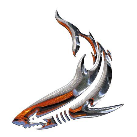Illustration of a shark in chrome