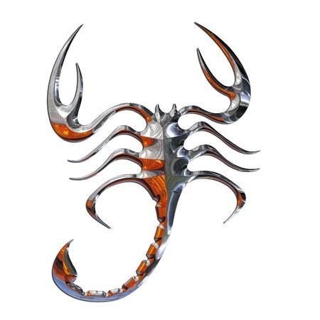Illustration of a scorpion in chrome illustration