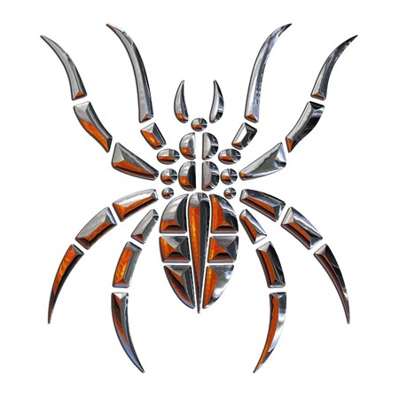 Illustration of a spider realized in chrome illustration