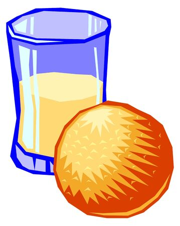 Ilustration of a glass of orange juice on a white background