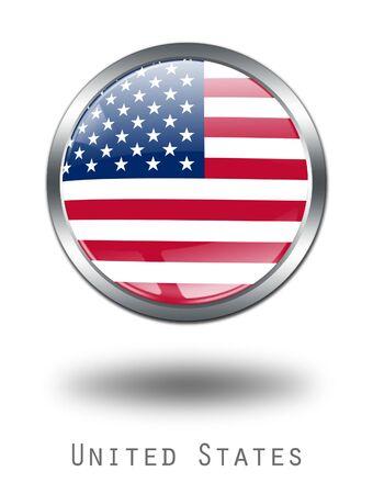 verenigde staten vlag: 3D Verenigde Staten Flag knop illustratie op een witte achtergrond
