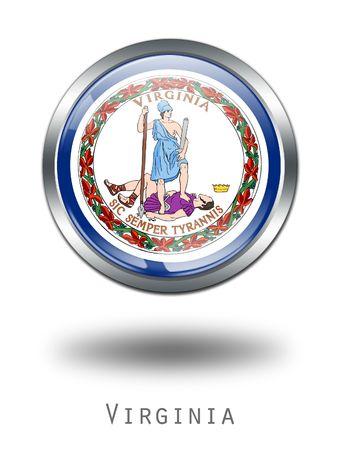 3d virginia: 3D Virginia Flag button illustration on a white background