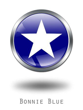 bonnie: 3D  Bonnie Blue  Flag button illustration on a white background