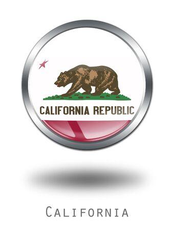 california flag: 3D  California  Flag button illustration on a white background Stock Photo