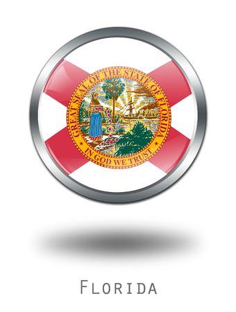 florida state: 3D Florida  Flag button illustration on a white background