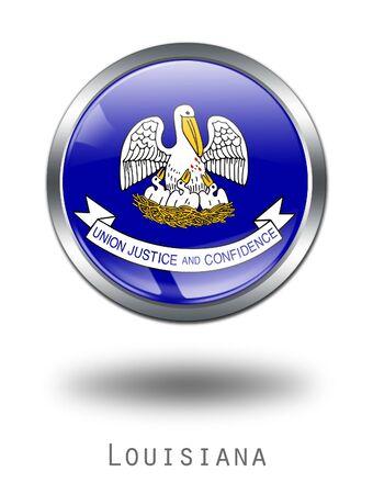 louisiana flag: 3D Louisiana Flag button illustration on a white background Stock Photo