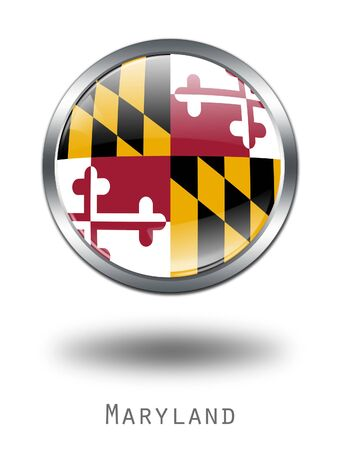 maryland flag: 3D Maryland  Flag button illustration on a white background
