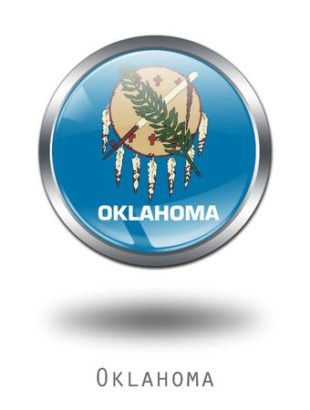 3D Oklahoma  Flag button illustration on a white background illustration