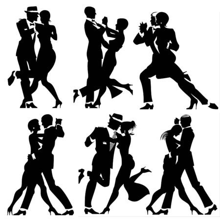 love silhouette: Illustration with silhouettes of a number of couples dancing