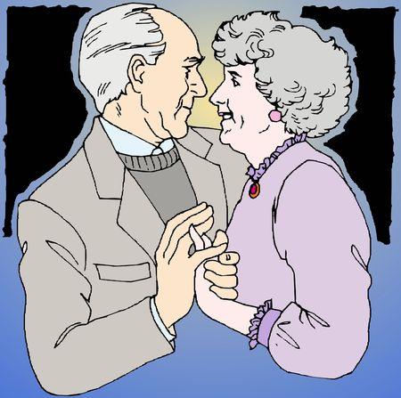 elderly couple of lovers photo