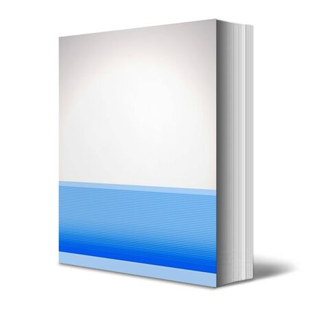 One book with a generic blue print on a white background photo