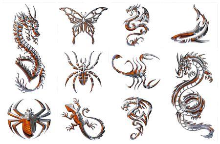 tatouage dragon: chrome collecte de donn�es sur un fond blanc