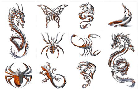 3d snake: chrome collection of figures on a white background Stock Photo