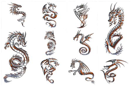 tribal dragon: chrome collection of figures on a white background Stock Photo