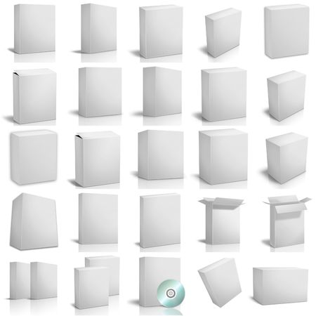 3d render boxes on white background photo