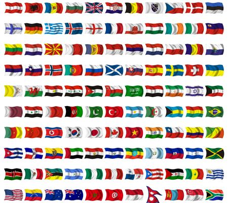 oceania: Collection of flags from around the world Stock Photo
