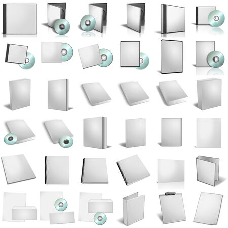 3d render of DVD boxes on white background photo