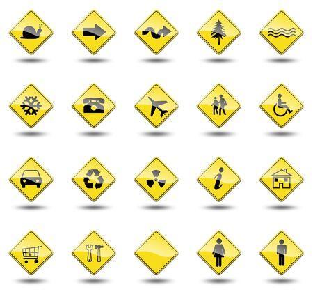 señales de transito: las señales de tráfico sobre un fondo blanco